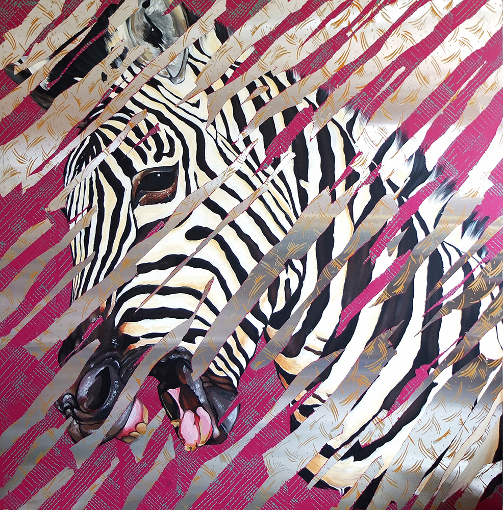 -   Zebra , Acrylic paint on metal, 4 feet by 4 feet, 2016